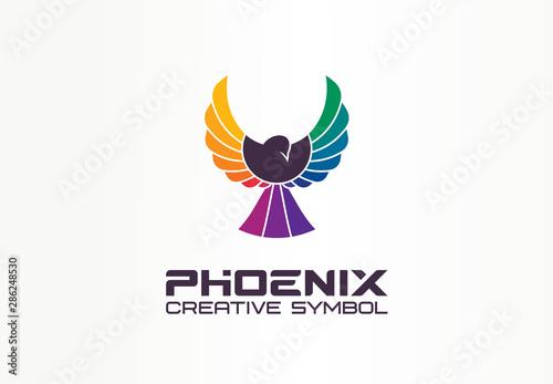 Color Phoenix Creative Symbol Concept Freedom Spread Wings