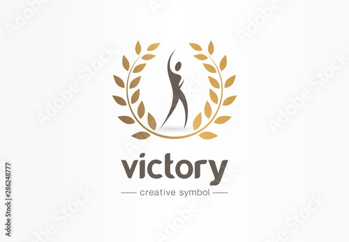 Fotografia Victory, happy man and gold laurel wreath creative symbol concept