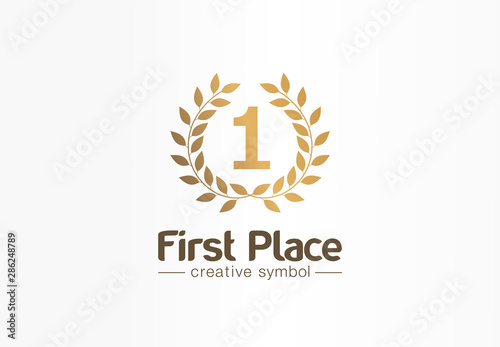 First place, number one, golden laurel wreath creative symbol concept Fototapet