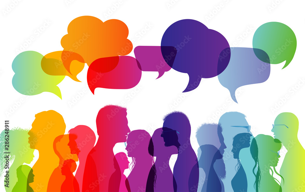 Fototapeta Dialogue group of diverse people. Communication between people. Crowd talking. Silhouette profiles. Rainbow colours. Speech bubble