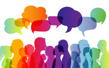 Dialogue Group Of Diverse People. Communication Between People. Crowd Talking. Silhouette Profiles. Rainbow Colours. Speech Bubble