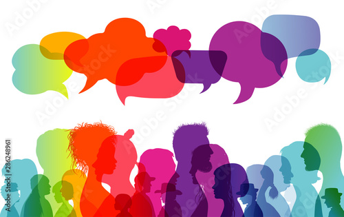 Obraz Speech bubble. Dialogue group of people. Communication between people. Crowd talking. Silhouette profiles. Rainbow colours - fototapety do salonu