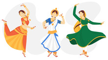 Illustration Of Young Beautiful Indian Classical Dancer In Different Dancing Pose.