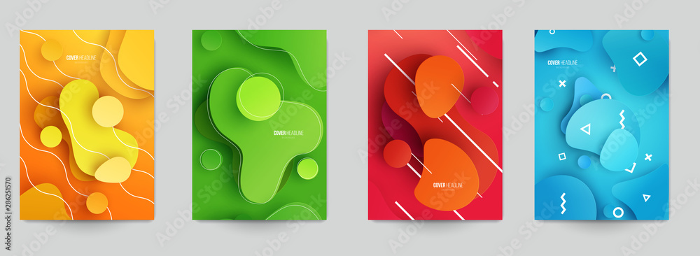 Fototapeta Set of creative modern concept with abstract flowing liquid shapes in paper cut style. Template background for covers, invitations, posters, banners, flyers, placards. Colorful vector illustration.