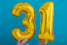 Gold Foil Number 31 Thirty One Celebration Balloon