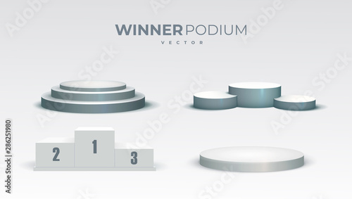 White Podiums Round And Square 3d Empty Podium With Steps