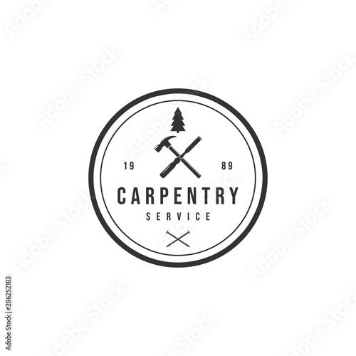 Vintage Retro Crossed Hammer Carpentry Woodworking Logo Design Inspiration Vector Buy This Stock Vector And Explore Similar Vectors At Adobe Stock Adobe Stock