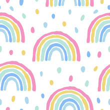 Rainbows And Dots Cute Seamless Pattern On White Background