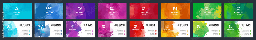 Fototapeta Big set of bright colorful business card template with vector watercolor background