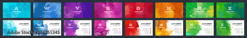 Photo Big set of bright colorful business card template with vector watercolor backgro