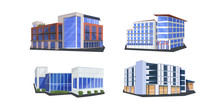 Set Different Commercial Corporate Office Buildings Icons Architecture Variations Collection Business Center Mall Super Market Library Cinema Exterior Design Flat Horizontal