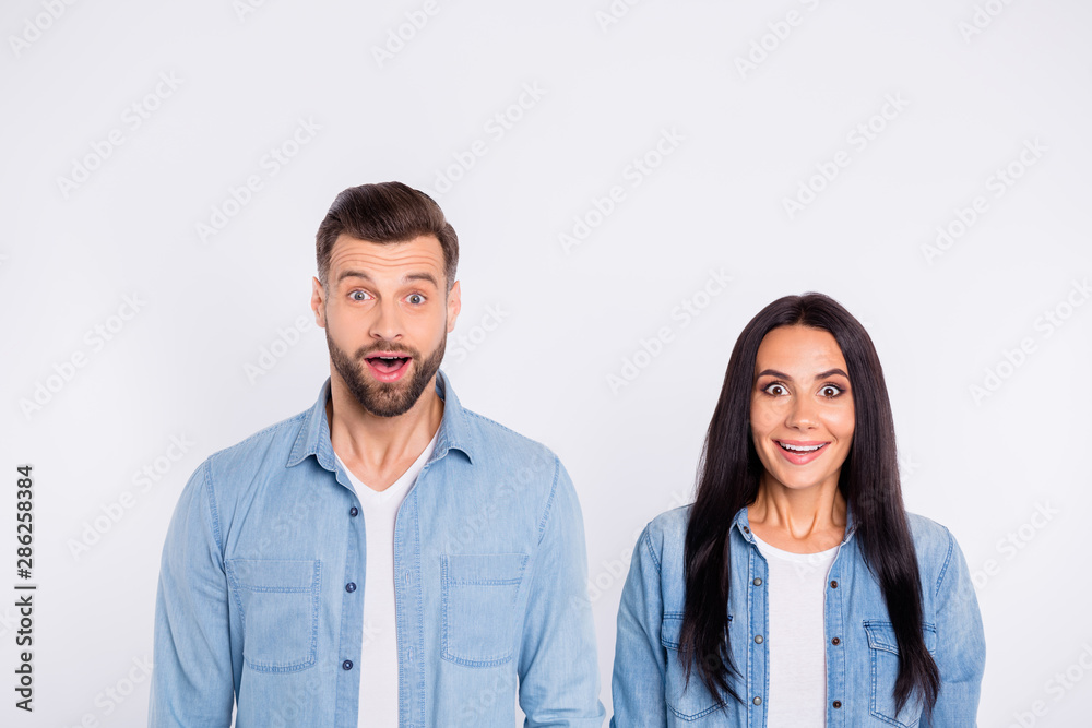 Fototapety, obrazy: Portrait of his he her she nice-looking attractive lovely cheerful cheery glad amazed persons showing omg expression isolated over light white pastel background