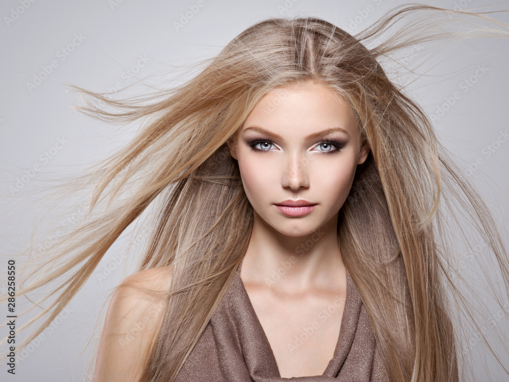 Fototapety, obrazy: Beautiful young woman with long straight white hair