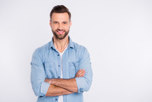 Portrait Of His He Nice-looking Attractive Masculine Cheerful Cheery Bearded Healthy Content Guy Folded Arms Isolated Over Light White Pastel Background