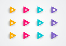 Super Set Arrow Bullet Point Triangle Flags On White Background With Colorful Gradient. Markers With Number 1 To 12. Modern Vector Illustration.