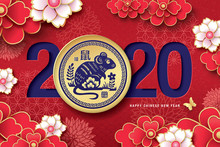 2020 Chinese New Year, Year Of The Rat Vector Design. Chinese Translation: Rat