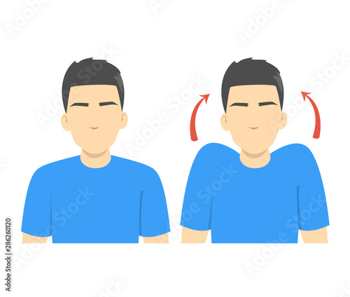 Fotografía Shoulder shrug exercise. Stretch to relieve neck pain