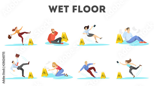 People falling on the wet floor set. Caution sign Fototapet