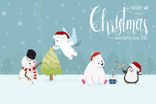 Cute Funny Christmas Charactor Snowman And Animals In Party Eps10 Vector Illustration
