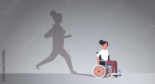disabled girl on wheelchair dreaming about recovery shadow of healthy woman runn Wallpaper Mural