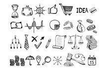 Hand Drawn Business Symbols. M...