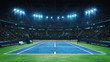 canvas print picture - Blue tennis court and illuminated indoor arena with fans, upper front view, professional tennis sport 3d illustration background