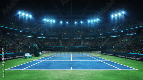 Blue tennis court and illuminated indoor arena with fans, upper front view, prof Fototapet
