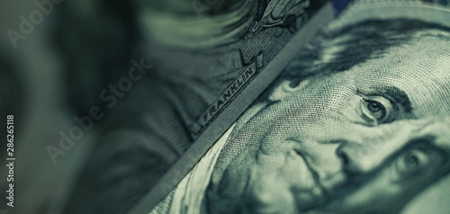 Close up Franklin's face  on a one hundred dollar. American, US Dollars Cash Money background. - 286265118