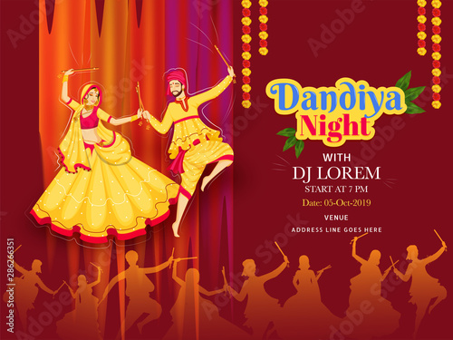 Vector Illustration Of Couple Dancing With Dandiya Stick On On Brown Background For Dandiya Night Dj Party Poster Or Banner Design And Date Time Venue Detail Buy This Stock Vector