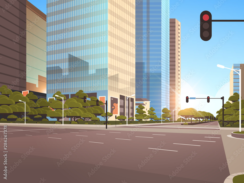 Fototapety, obrazy: beautifil city street asphalt road with traffic light high skyscraper modern cityscape sunshine background flat horizontal