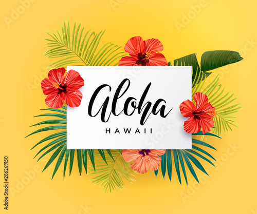 Tropical vector design with green palm leaves, hibiscus flowers, pineapples and hand drawn Aloha inscription. Summer hawaiian illustration. Wall mural