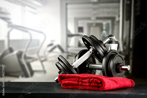 Fototapety, obrazy: Gym interior and free space for your decoration.