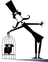 Mustache Man In The Top Hat Holds A Cage With A Bird Isolated Illustration. Cartoon Long Mustache Man In The Top Hat Holds A Cage With Parrot Black On White Illustration