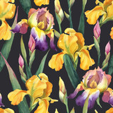 Seamless pattern of purple and yellow iris flowers and leaves on dark background.
