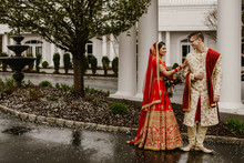 Happy Hindu Groom And Hindu Brides Are On Their Wedding Day