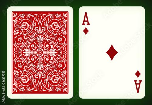 Obraz na płótnie Ace of diamonds - playing cards vector illustration