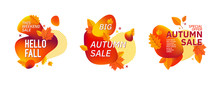 Set Of Autumn Fall Season Abstract Backgrounds.