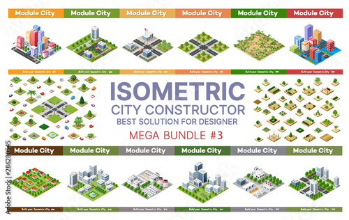Foto auf Gartenposter Logo Isometric set of blocks module of areas