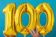 Leinwanddruck Bild - Gold foil number 100 celebration balloon