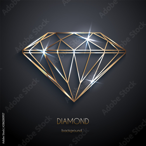 Foto Abstract luxury template with gold diamond outlined shape - eps10 vector backgro