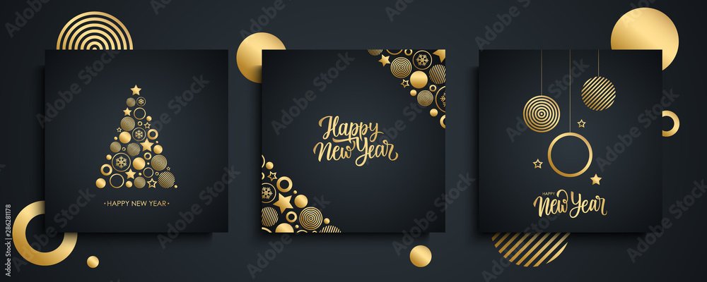 Fototapeta Happy New Year luxury greeting cards set. New Year holiday invitations templates collection with hand drawn lettering and gold christmas balls. Vector illustration.