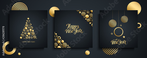 Obraz Happy New Year luxury greeting cards set. New Year holiday invitations templates collection with hand drawn lettering and gold christmas balls. Vector illustration.  - fototapety do salonu