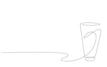 Glass Water On White Background, Vector Illustration