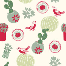 Christmas Desert Cactus Seamless Pattern In Shades Of Green, Ivory And Red. Potted Sagauro And Barrel Cactus With Birds And Flowers. Creative And Unique For Wrapping Paper, Textiles And Holiday Cards.