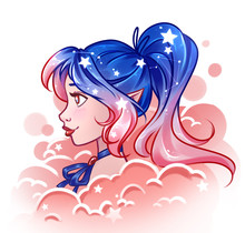Pretty Cartoon Girl With Shine...
