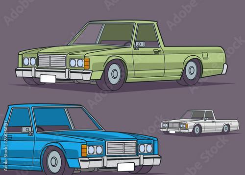 Garden Poster Cartoon cars Classic Green Blue Truck Graphic