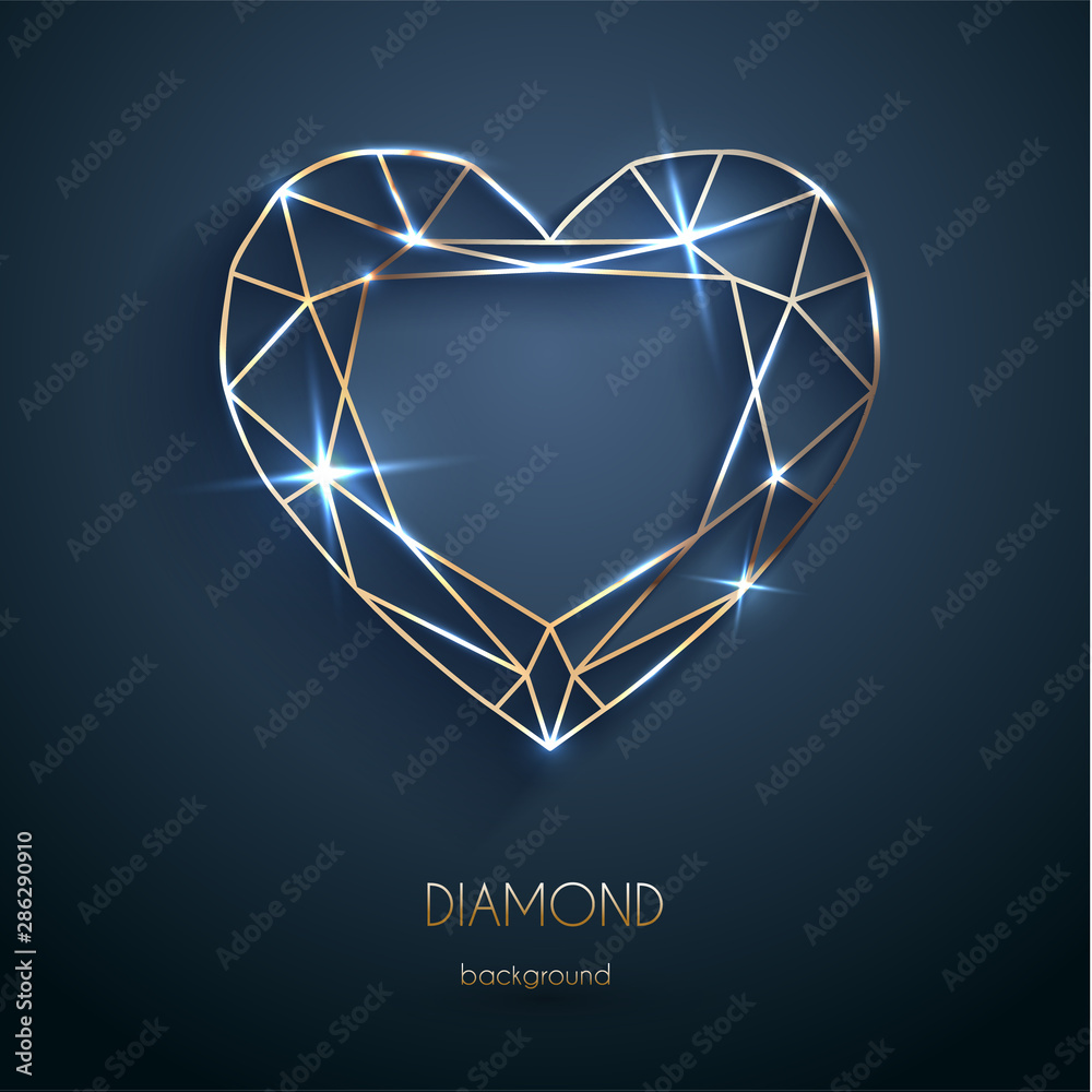 Fototapeta Abstract luxury template with golden heart-shaped diamond outline - eps10 vector