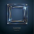 Abstract luxury template with golden diamond outlined shape - eps10 vector