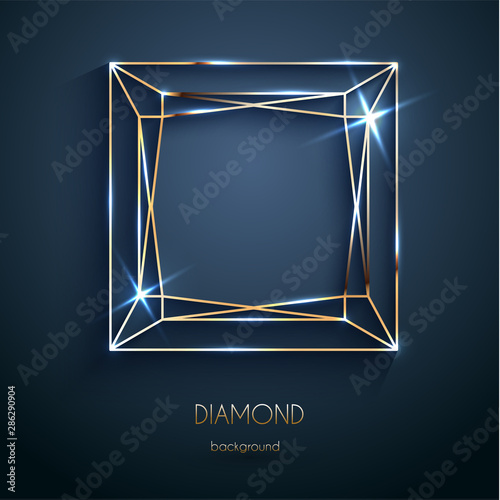 Valokuva Abstract luxury template with golden diamond outlined shape - eps10 vector