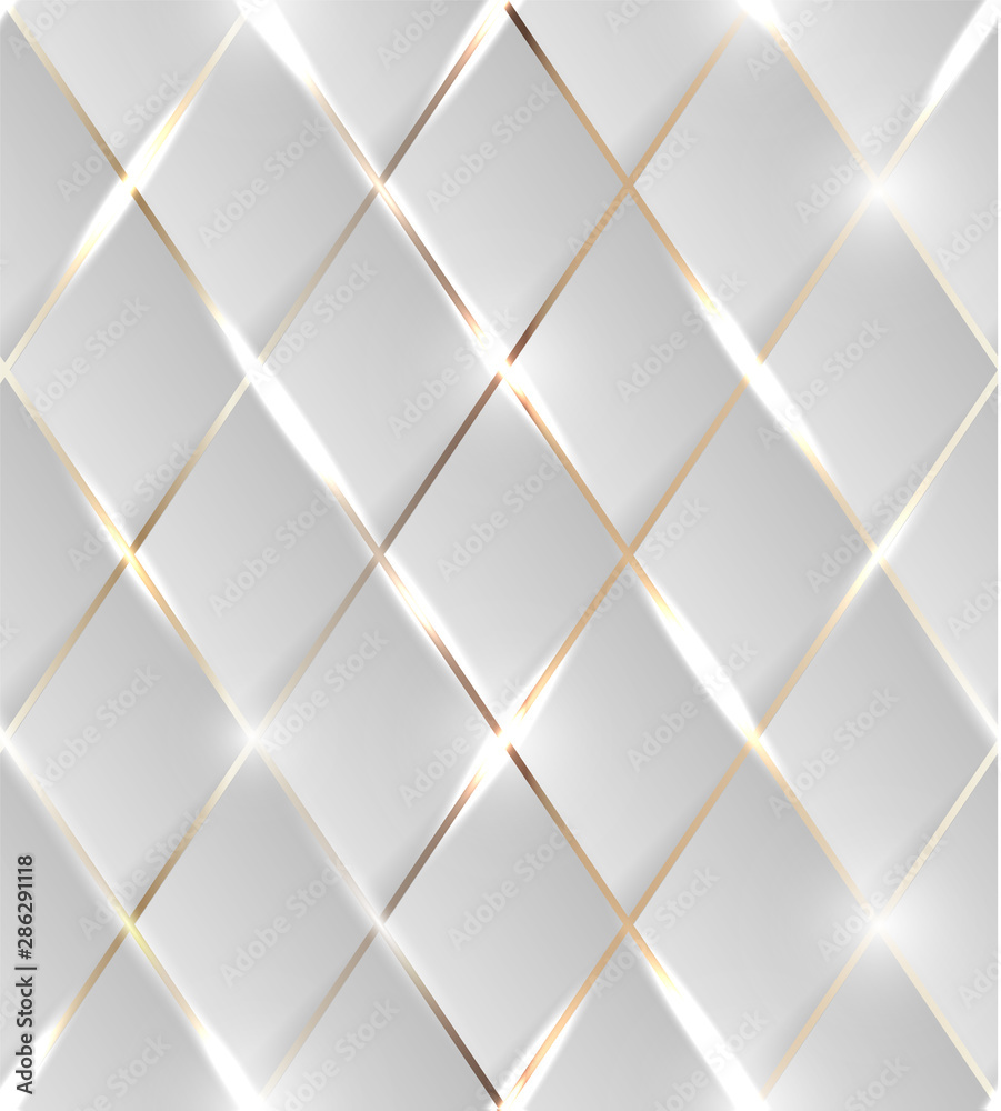 Fototapeta Seamless illustration of shiny golden background with 3d effect and glossy elements with flares